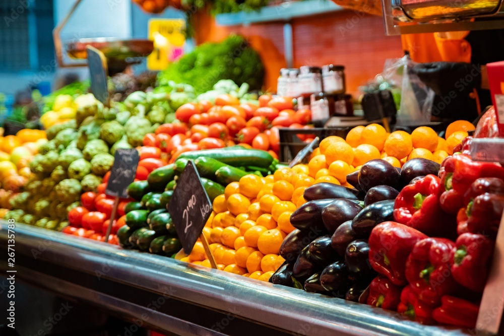 Fototapety, obrazy: Vegetable stall on bazaar with colorful vegetables and fruits