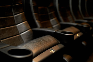 A cinema hall or a hall for holding events. A number of comfortable leather chairs. Many