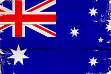 Flaga Australii Malowana Na Starej Desce.