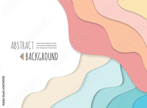 Fototapety, obrazy: Modern colorful pink and blue 3d wavy banner. Paper cut out layers background. Vector