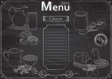 Vector Template With Milk Foods Elements For Menu Stylized As Chalk Drawing On Chalkboard.Design For A Restaurant, Cafe Or Bar