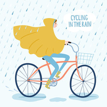 Cute Girl Cyclist In Rainy Weather Vector Illustration