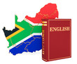 canvas print picture - English language book with map of South Africa, 3D rendering