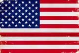 Fototapeta Nowy Jork - Flaga USA malowana na starej desce.