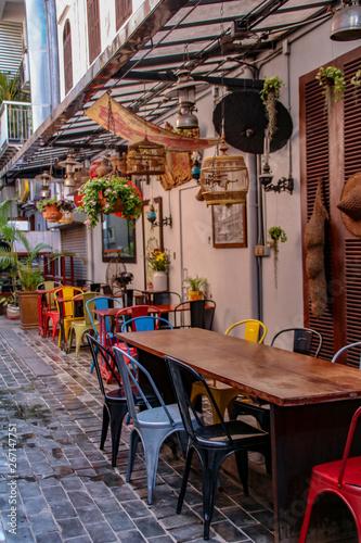Foto auf AluDibond Gezeichnet Straßenkaffee scenic lovely coffees in cambodia