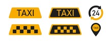Set Of Taxi Service Icon Yello...