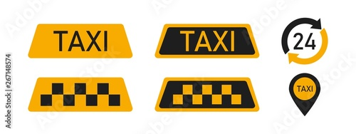 Set of taxi service icon yellow signs of transport elements isolated on white background Billede på lærred