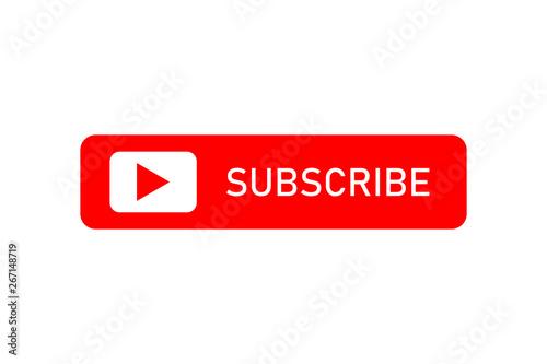 Fotografía  Red button of subscribe social media sign