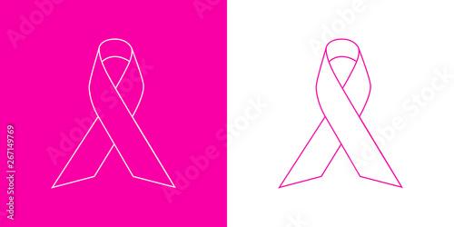 Icono plano lineal lazo de conciencia en rosa y blanco Wallpaper Mural