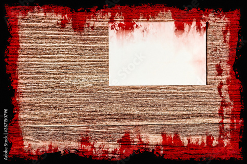 Fotografie, Tablou  Halloween background.Bloody Suicide note on grunge wooden wall.