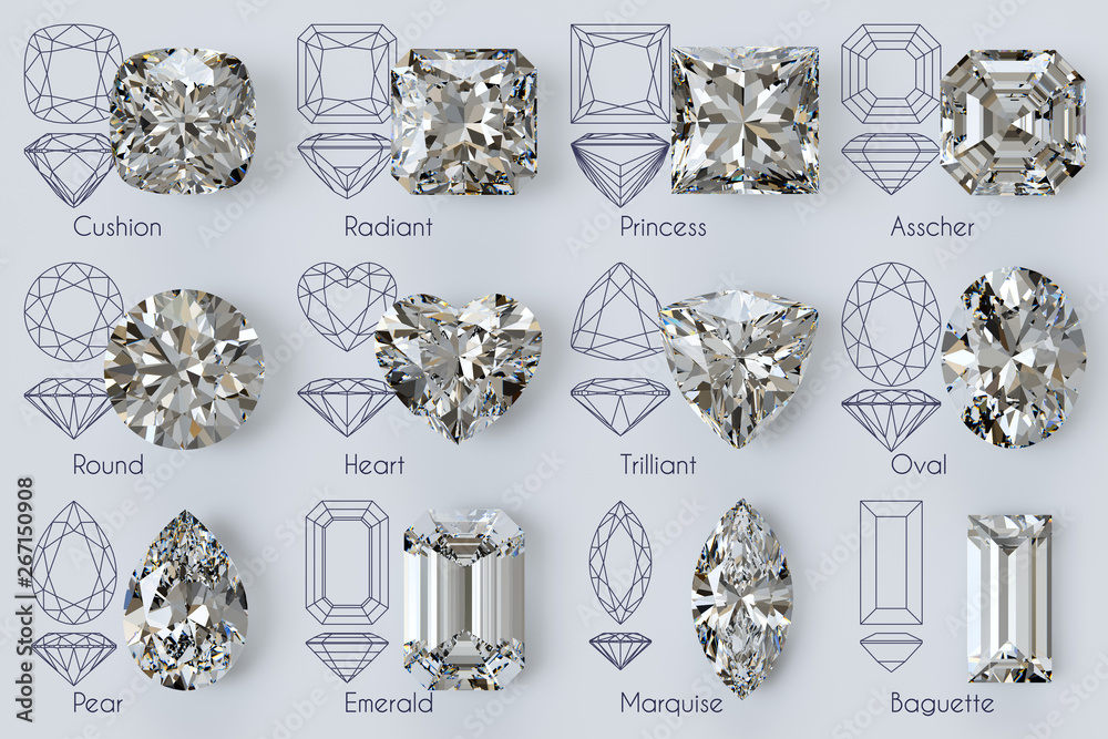 Fototapety, obrazy: Twelve popular diamond shapes with titles, diagrams on white background