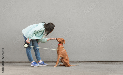 Foto  Brunette woman playing with a beautiful young dog against a background of wall wearing casual clothing
