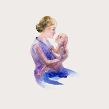 Mother's Day Illustration. Mother And Baby Look At Each Other. Sketch Drawn Of Brush. Watercolor Style Illustration.