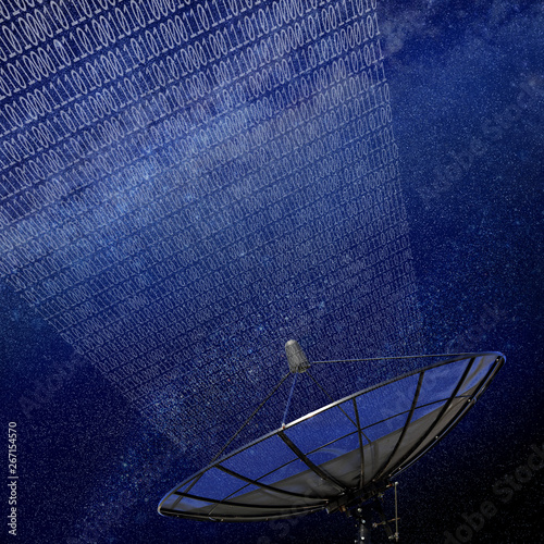Photo Conceptual image of a satellite dish antenna over night sky with abstract light