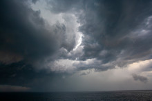 Dramatic Afternoon Storm Over The Ocean