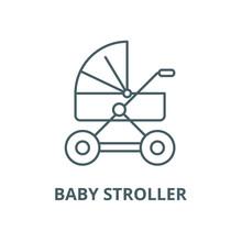 Baby Stroller Vector Line Icon...