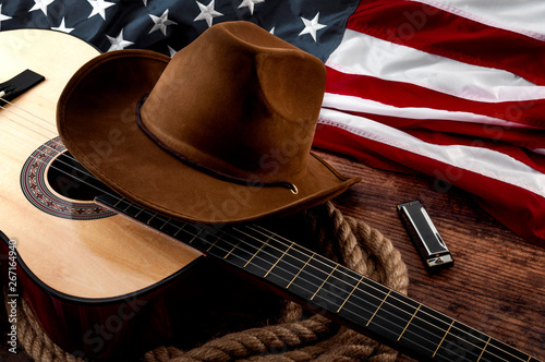 American culture, living on a ranch and country muisc concept theme with a cowbo Fototapet