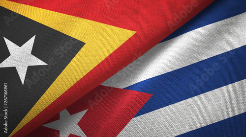 East Timor and Cuba two flags textile cloth, fabric texture Canvas Print
