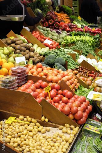 Fototapeta Palma Mallorca, Spain - March 20, 2019 : fresh vegetables and fruit display for