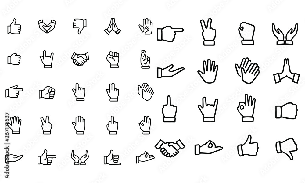 Fototapety, obrazy: Gesture Icons vector illustration black and white