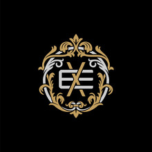 Initial Letter E And X, EX, XE, Decorative Ornament Emblem Badge, Overlapping Monogram Logo, Elegant Luxury Silver Gold Color On Black Background