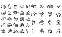 Politics - Outline Icon Set Il...