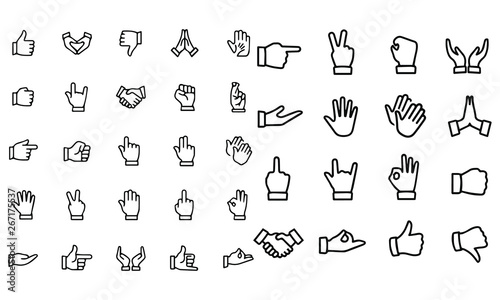 Obraz Gesture Icons vector illustration black and white - fototapety do salonu