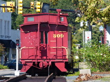 Red Train Caboose Parked Down ...