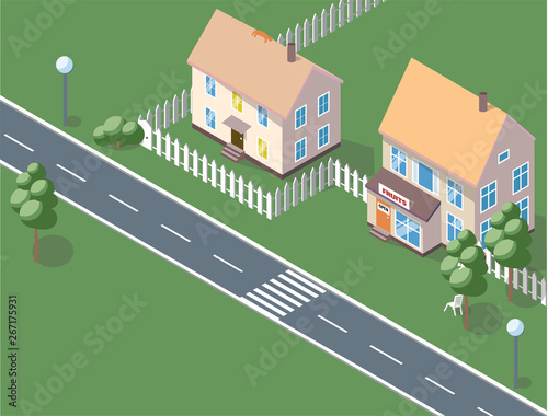 Poster de jardin Route City Background - modern flat design style vector illustration on white background. Lovely housing complex with small buildings, trees, pedestrian zone, Shopping and Excensive