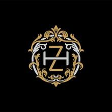Initial Letter H And Z, HZ, ZH, Decorative Ornament Emblem Badge, Overlapping Monogram Logo, Elegant Luxury Silver Gold Color On Black Background