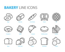 Set Of Bakery Line Icons, Such As Bread, Waffle, Cake, Bun