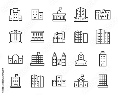 set of building icons, such as city, apartment, condominium, town Canvas-taulu