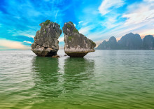 The Limestone Island Shape Kissing Or Chicken Fight At Halong Bay. This Is Also Considered A Tourist Symbol Of Halong Bay, Vietnam And The UNESCO Natural World Heritage Site