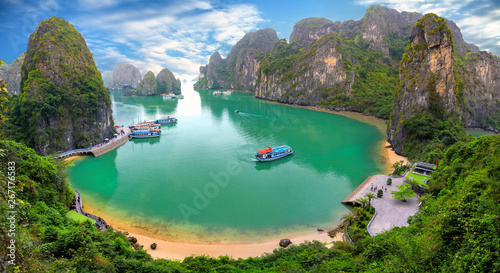 Beautiful landscape Halong Bay view from adove the Bo Hon Island Canvas Print