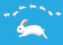 White Rabbit Jumping Motion An...