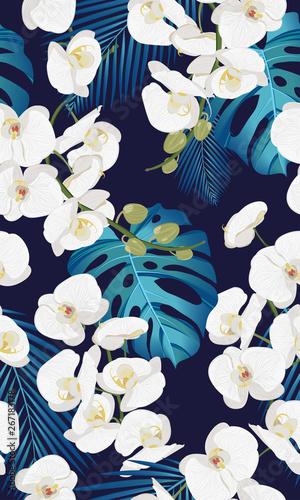 Fotografia white orchid floral seamless pattern with tropical leaves on white background