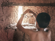 Child Hands In Handcuffs, Human Trafficking Concept,