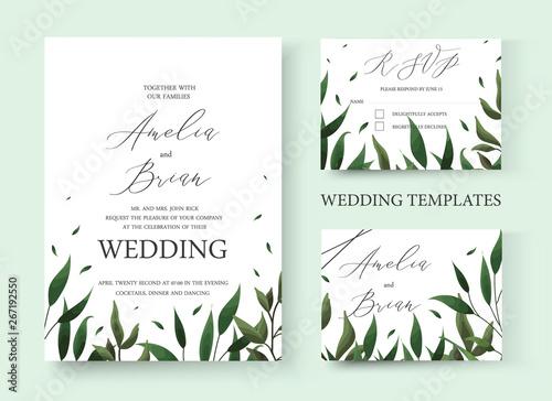 Wall Murals Retro sign Wedding floral greenery invitation card