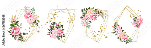 Fototapeta Wedding floral geometric triangular frame obraz