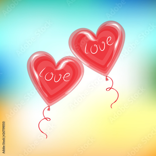 Two Red Balloons In The Shape Of A Heart A Symbol Of Love