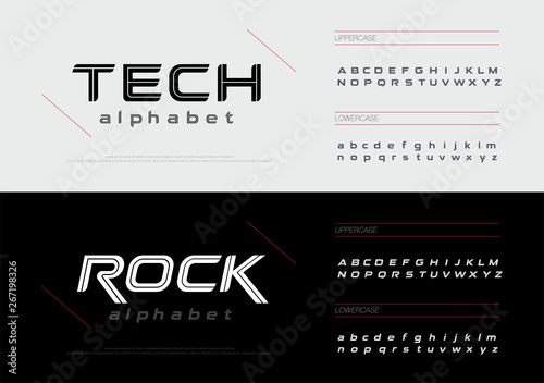 Fotomural Sport technology alphabet letters font set