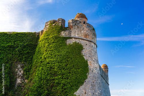 Fotografie, Obraz  Andrea Doria Castle in Porto Venere, La Spezia, Italy, covered in green ivy, looking fairy tale like against a blue sky with half moon on a beautiful summer morning
