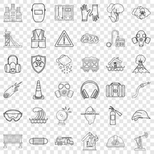 Catastrophic Icons Set. Outline Style Of 36 Catastrophic Vector Icons For Web For Any Design