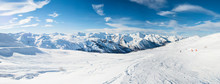 Panoramic View Down Snow Cover...