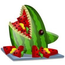 Ripe Watermelon Cut In The Sha...