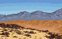 Mars Desert Landscape With Mountains