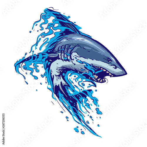Photo aggressive shark jump attack illustration