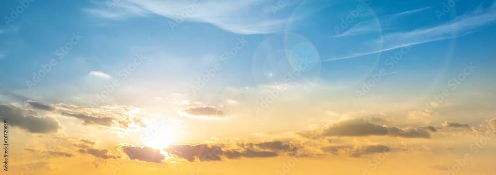 Fototapety, obrazy: Beautiful sunset panorama, orange and blue