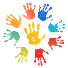 Hand Rainbow Print Sun, Isolated On White Background. Color Child Handprint. Creative Paint Hands Prints. Happy Childhood Design. Artistic Kids Stamp, Bright Human Fingers, Palm. Vector Illustration