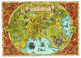 Watercolor pirate treasures map of fantasy world.